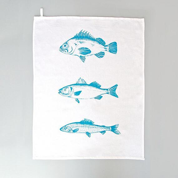 Geschirrtuch mit türkisnen Fischen